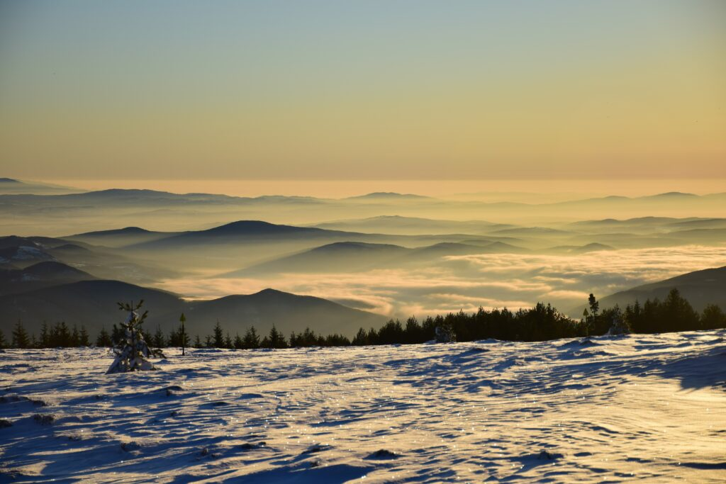 Talvinen vuorimaisema Vitosha Sofia Bulgaria